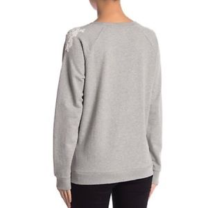 Lucky Brand Sweaters - Lucky brand gray white floral sweater sz small